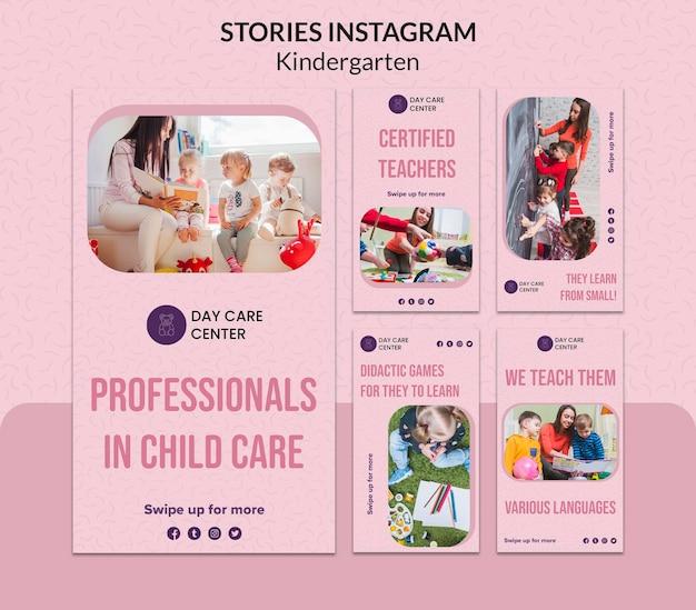 Modèle web d'histoires instagram de maternelle