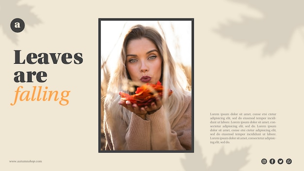 Modèle web horizontal avec femme tenant des feuilles orange