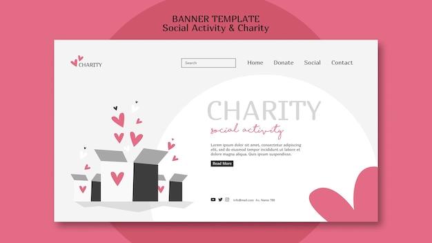 Modèle web illustré d'activité sociale et de charité