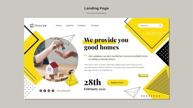 Modèle web immobilier et bâtiment