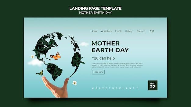 Modèle web de jour de la terre mère