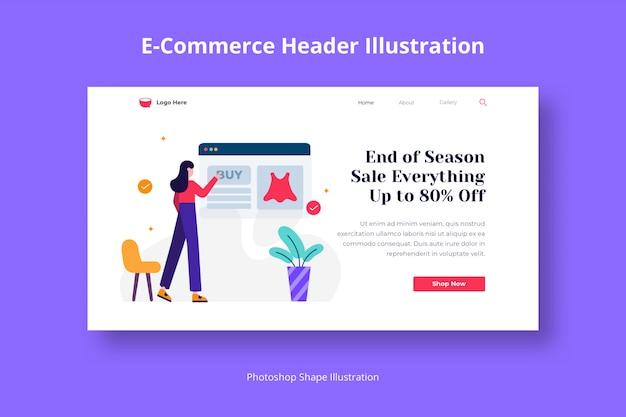 Modèle web de magasinage de commerce électronique avec illustration plate