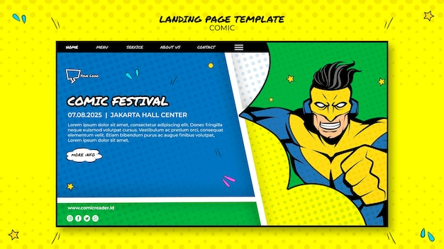Modèle web de page de destination de bande dessinée