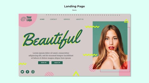 Modèle web de page de destination de beau concept