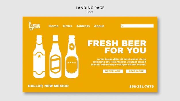 Modèle web de page de destination de bonne bière