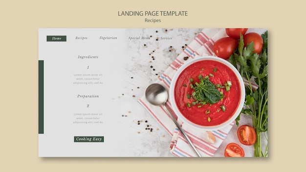 Modèle web de page de destination de gaspacho