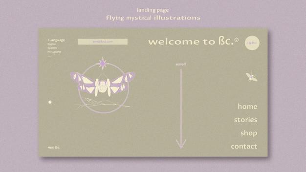 Modèle web de page de destination de papillon mystique volant