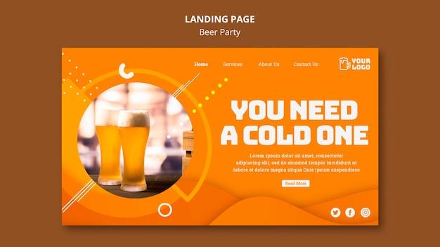 Modèle web de page de destination pour la fête de la bière