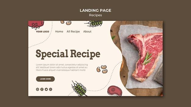 Modèle web de page de destination de recettes