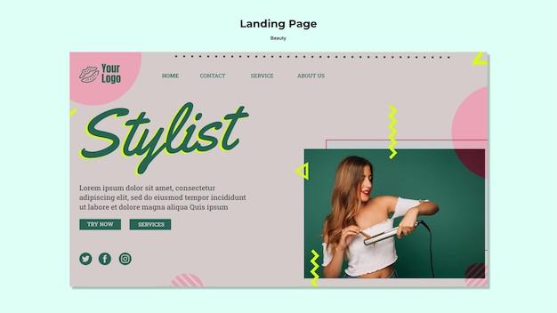 Modèle web de page de destination de styliste