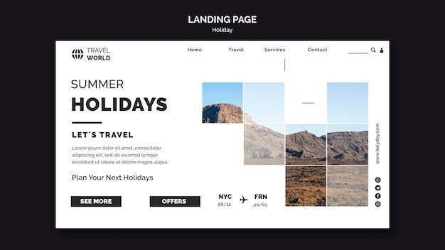Modèle web de page de destination de vacances