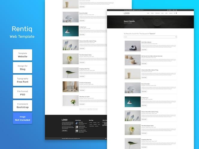 Modèle web de page de recherche de blog rentiq
