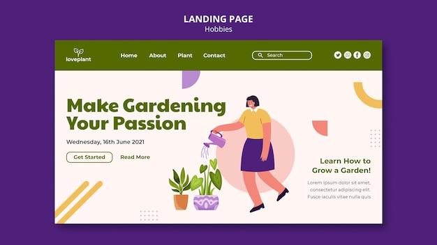 Modèle web de passe-temps de jardinage