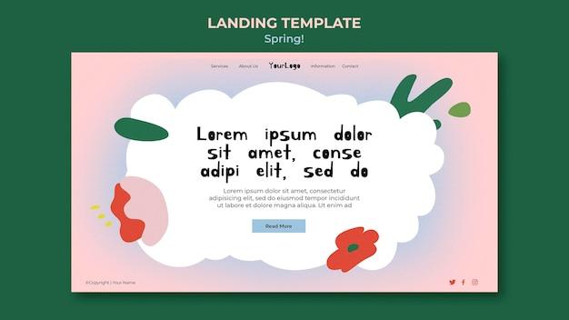 Modèle web de printemps dessiné
