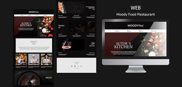 Modèle web de restaurant de nourriture moody