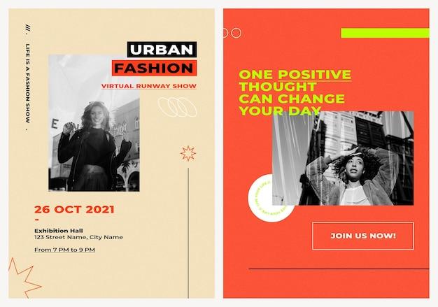 Modèles d'affiches psd avec arrière-plans de couleur rétro pour le concept d'influenceurs de mode et de tendances