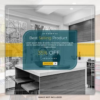 Modèles de bannière de publication de médias sociaux d'élégance de meubles de maison