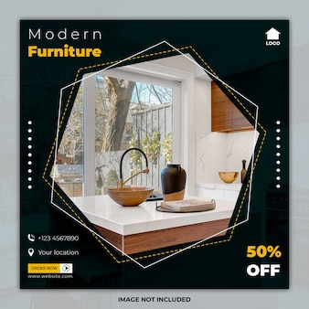 Modèles de bannière de publication de médias sociaux de meubles