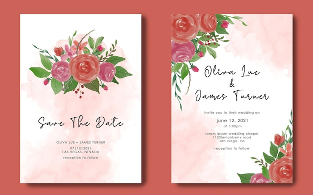Modèles de cartes d'invitation de mariage et enregistrez les cartes de date avec aquarelle