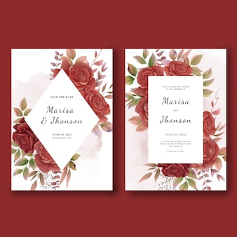 Modèles de cartes d'invitation de mariage avec des roses aquarelles
