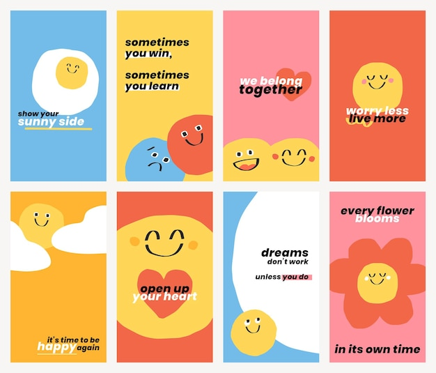 Modèles de citations positives mignonnes psd doodle ensemble de bannières d'émoticônes souriantes