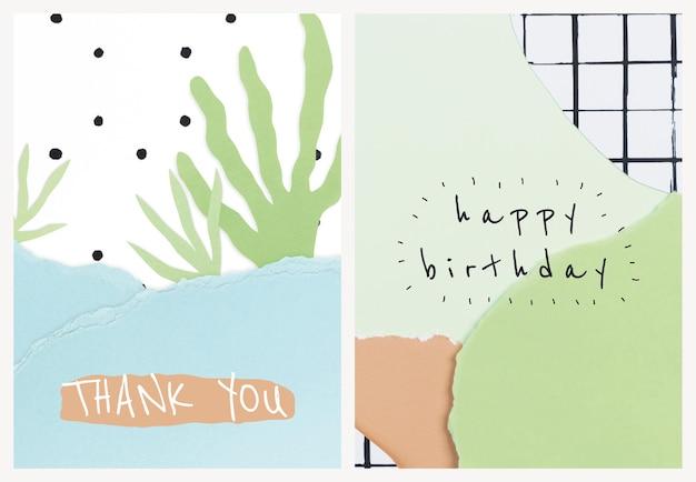 Modèles de collage de papier mignon psd pour carte d'invitation