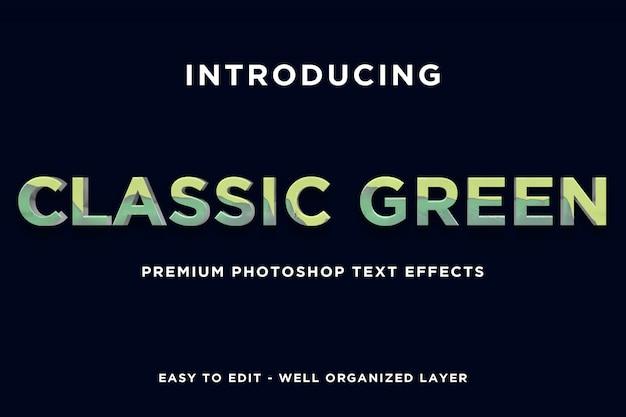 Modèles d'effets de texte de style vert classique