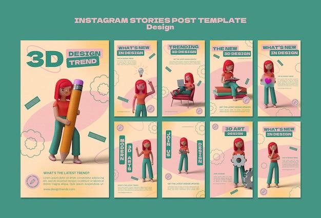Modèles d'histoire instagram de conception 3d