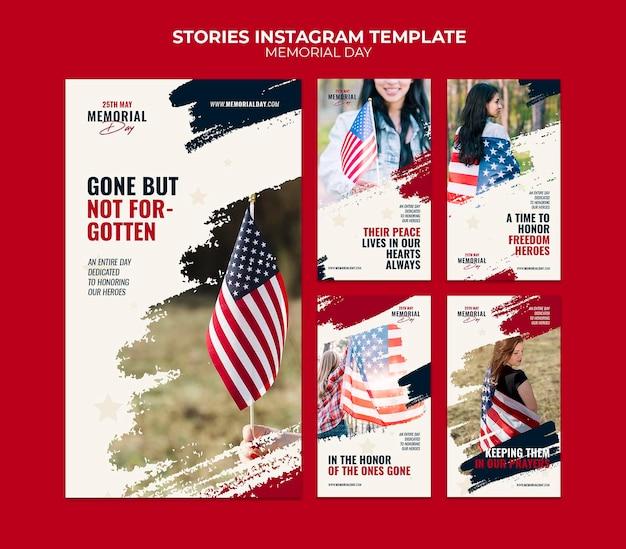 Modèles d'histoire instagram du memorial day
