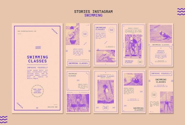 Modèles d'histoire instagram pour les cours de natation