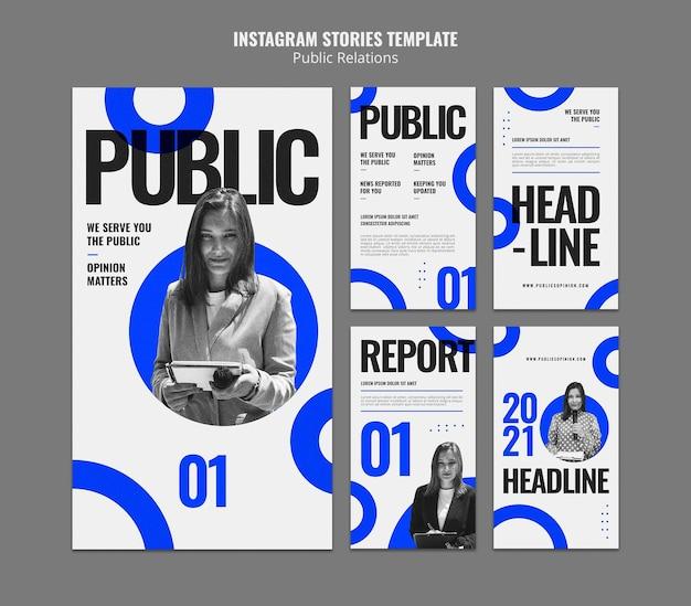 Modèles d'histoire instagram de relations publiques