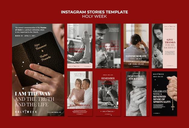 Modèles d'histoire instagram de la semaine sainte avec photo