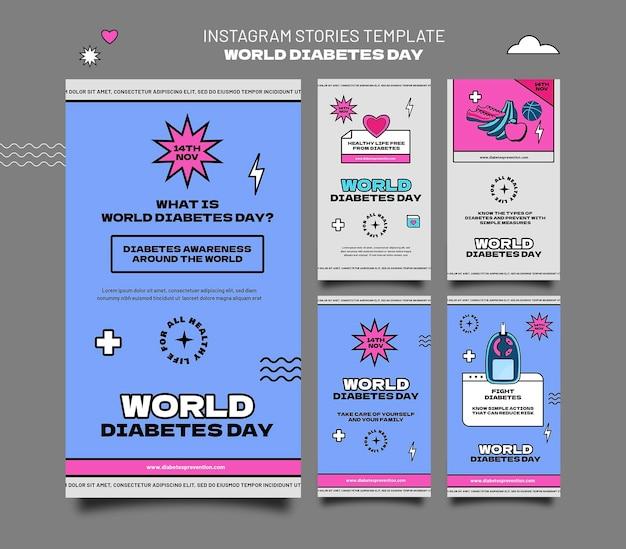 Modèles d'histoires ig de la journée mondiale créative du diabète