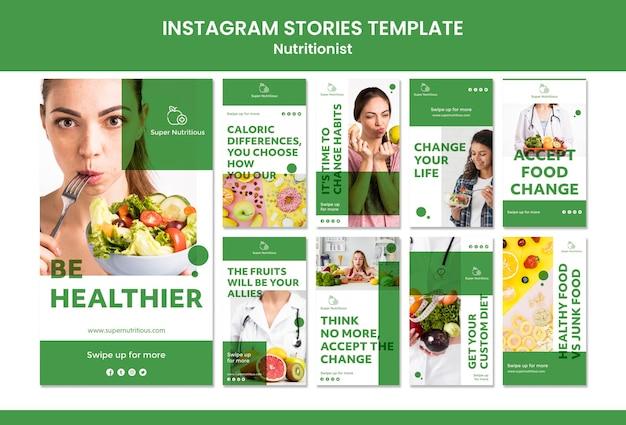 Modèles d'histoires instagram avec des conseils nutritionnistes