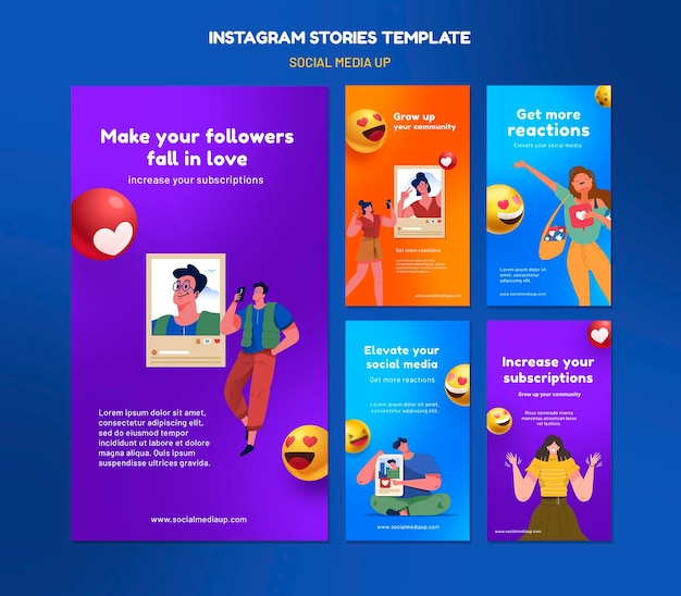 Modèles d'histoires instagram sur les réseaux sociaux