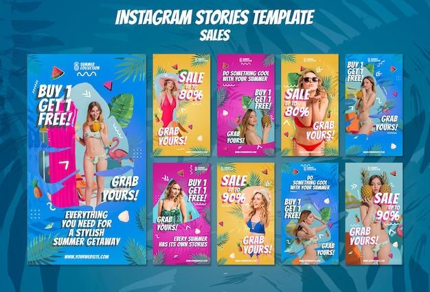Modèles d'histoires instagram de soldes d'été