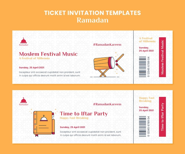 Modèles d'invitation de billet ramadan kareem illustrés