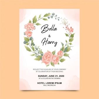 Modèles d'invitation de mariage avec de belles roses aquarelles