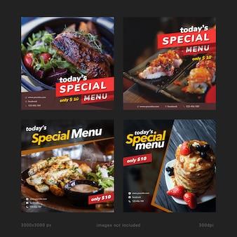 Modèles de médias sociaux de bannière de menu spécial d'aujourd'hui