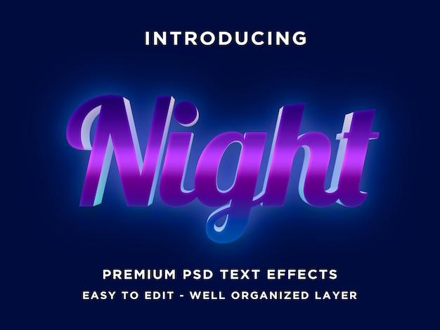 Modèles de nuit d'effet de texte 3d photoshop