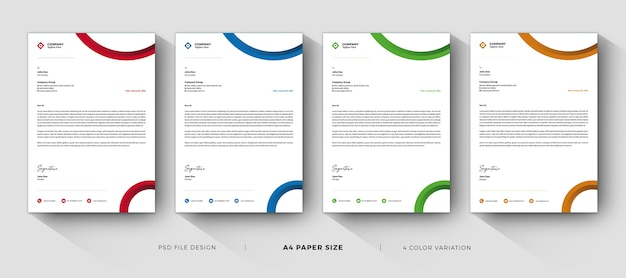 Modèles de papier à en-tête design professionnel et moderne avec variation de couleur