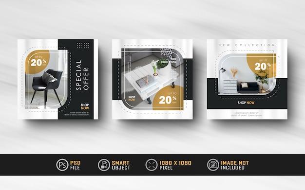 Modèles de publication de design d'intérieur instagram social