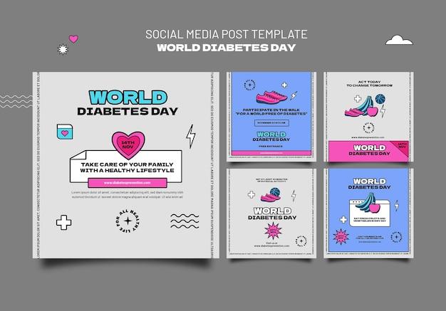 Modèles de publication ig de la journée mondiale créative du diabète