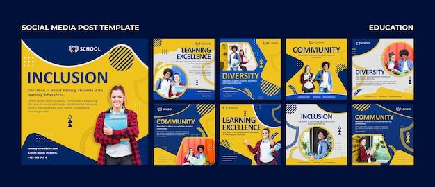Modèles de publication instagram d'éducation avec photo
