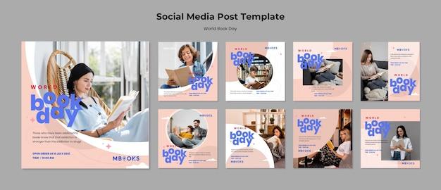 Modèles de publication instagram pour la journée mondiale du livre