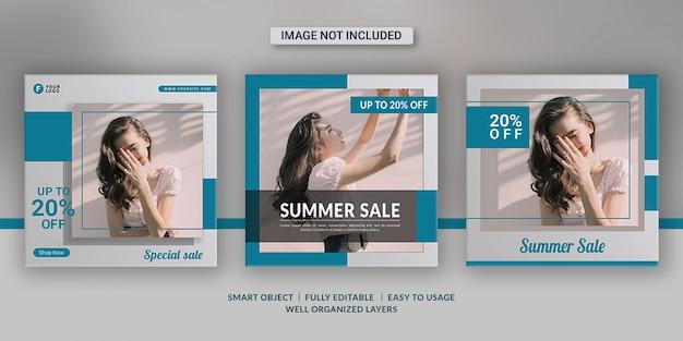 Modèles de publication de médias sociaux de vente d'été de mode