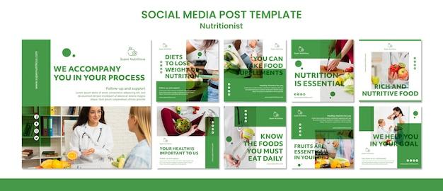 Modèles de publications sur les médias sociaux avec des conseils nutritionnistes