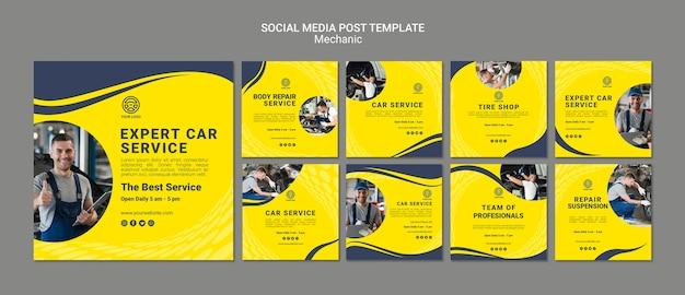 Modèles de publications sur les réseaux sociaux de mécanicien créatif avec photo