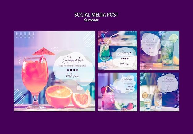 Modèles de publications sur les réseaux sociaux avec photo d'été
