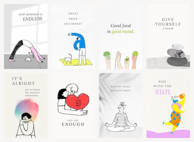 Modèles de santé et de bien-être psd ensemble d'illustrations colorées et mignonnes